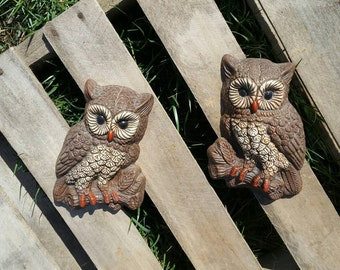 Retro Pair Owls Wall Décor Hoot Owls Rustic Cabin Cottage Child's Room Farmhouse