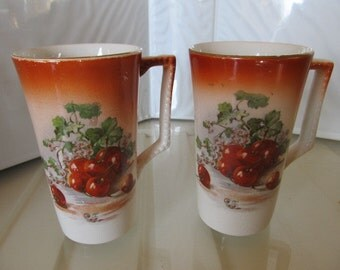 Dresden China Cherry Motif Lemonade Cups c. 1880-1910 (includes 2)