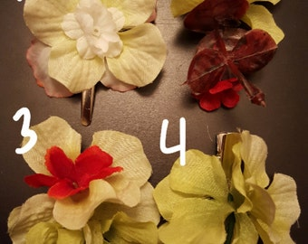 Green and white flower clips!