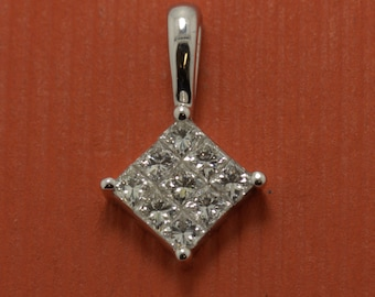 ladies 9 stone 18ct white gold mystery set princess cut diamond pendant