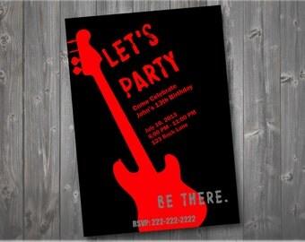 Rock N Roll Birthday Invitation, Rock Party Invitation, Guitar Birthday Invitation