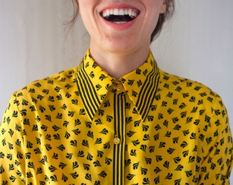 Vintage 70s Silky Button Down Blouse Black and Yellow Shirt Late 1970s 1980s