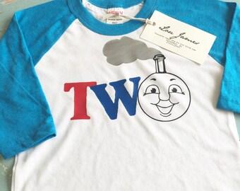 Thomas the Train one two toddler raglan party shirt