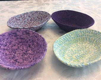 Stitched Colorful Fabric Wrapped Clothesline Baskets-Home Decor, Accent Bowls