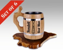 Set of 6 Personalized Wooden Beer Mugs, Personalized Groomsmen Gift, Groomsman Tankard, Personalized Best Man Gift, Wedding, Tankard, Stain