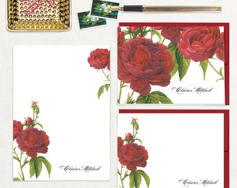 complete personalized stationery set - DARK RED ROSES - note cards - notepad - stationary - botanical - floral - flower - red envelopes