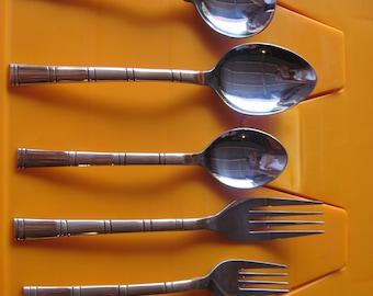 36 pieces Copper/SS Flatware Set