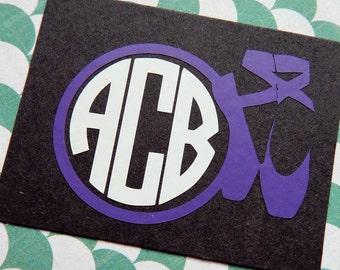 Ballet Decal, Ballet Monogram, Circle Monogram, Car Decal, Phone Decal, Laptop Decal, Ballet Shoes Decal, Dance Decal, Dance Monogram