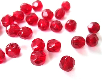 20 PCs 6mm - Ruby Czech glass beads
