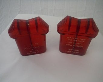 1950's Promotional Salt and Pepper Shakers-Farm Bureau Insurance-Plastic-Vintage-Collectible