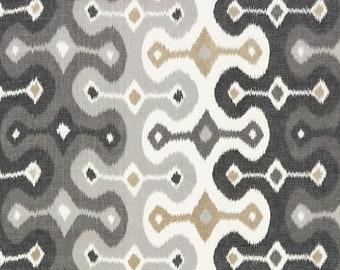 SCHUMACHER Ethnic Chic Exotic Darya IKAT Kilim Cotton Linen Fabric 10 Yard Stone