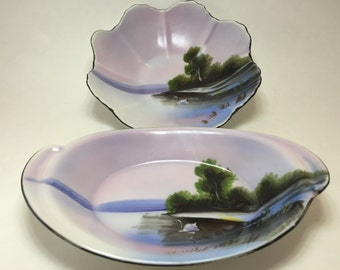 Noritake Hand Painted Swan Dishes 2pc