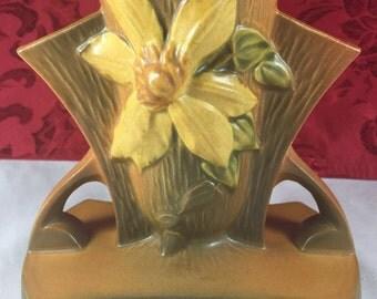 Roseville Clematis Frog Vase