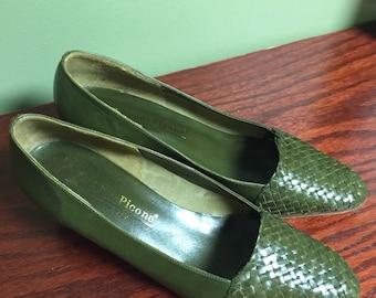 Vintage Evan Piccone Leather Pumps Olive Green
