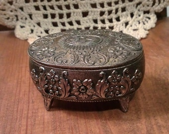 Vintage Metal Trinket Box - Red Lined - (1960) Japan