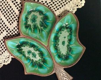 Vintage Treasure Craft Drip Glaze Divided Serving Dish, Leaf Design (1970s)