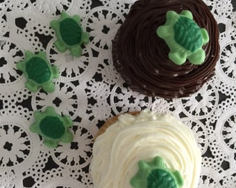 TURTLE CHOCOLATE CUPCAKE Toppers (24qty) Turtle Toppers - Birthday Party/Sea Themed Party/Turtle Party/Party Favors/Turtles/Turtle Cupcakes