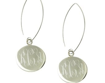 925 Sterling Silver Round Monogram Personalized Dangle Earrings
