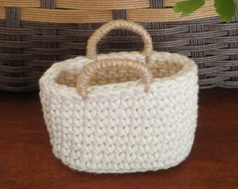 FREE SHIPPING, Miniature Crochet Bag, Little Tote Bag, Doll Bag, Cozy Home Decor, Gift for Women