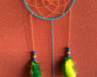 Dream Catcher Home Decoration Decore Wall Hanging Handcraft Beads Feathers Orange Blue