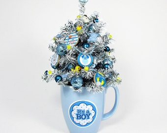 Baby Boy Decor - Nursery Decoration - Baby Shower Centerpiece - Miniature Tree - Tabletop Decoration - Baby Gift - New Baby - Blue Decor
