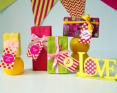 GIFT TAGS Printable | Yellow & Pink Party Decorations | Instant Download | Siskale