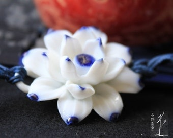 Ceramic necklace Handmade water lily necklace sweater chain National style jewelry/Chinese style/Asian style