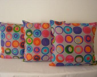 Handmade Cushion Cover, pillow cover, multi coloured, Kandinsky style circles