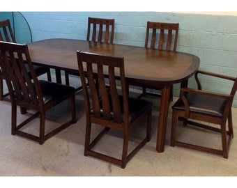 Lane Mid Century Rosewood Dining Table + Chairs