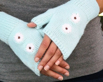 Fingerless Gloves with Embroidered Eyelets