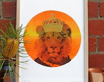 Hand screen printed 'Neon Leo' (A3) art print