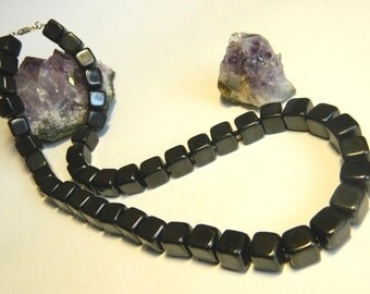 Shungite strand necklace square beads from KARELIA, Russia, 510mm length EMF protection