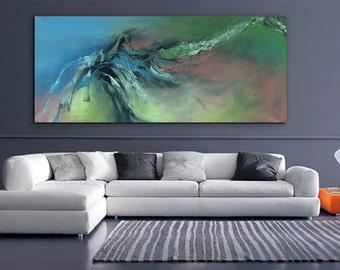 "74"" ABSTRACT LARGE ARTWORK Original abstract painting Modern Art Contemporary Art Acrylic on un-stretched canvas"