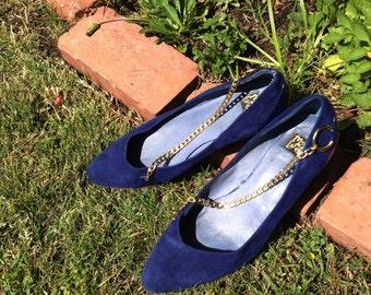 Vintage Navy Blue Leather Heels