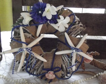Nautical wreath, hessian,shells,starfish,ivory flowers