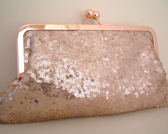 Sequin Rose Gold Evening Bag, purse, clutch bag, Sequin Fabric no.1