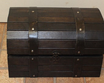Brown Wooden Storage Trunk