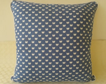 Blue and White Cat Print Cushion with Hand Made White Piping
