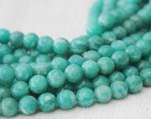 A Quality Russian Amazonite Round Beads 6mm Full Strand Jewelry Supply Jade Green