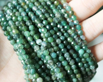 Moss Agate, 4mm Faceted Beads, Natural Gemstone, Yoga Jewelry, Supply Green Beads, Agate Beads, Agate Gemstone Beads,