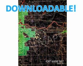 Downloadable Fort Wayne East INDIANA 1956, Vintage Old map, Downloadable Print,Map Wall Art, Printable Art, Man cave Decor, Printable