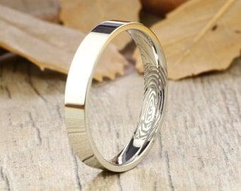 Your Actual Finger Print Rings, Handmade Flat Plain Finger Print Ring, Female Ring, Wedding Band, Women Ring, Titanium Ring,Anniversary Ring