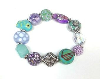 Fun Green and Lavender Stretch Bracelet
