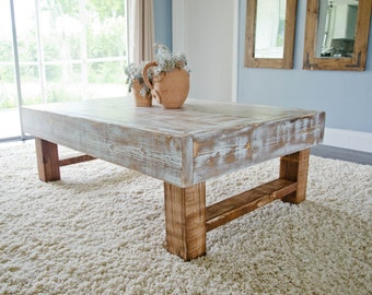 Rustic Coffee Table, Farmhouse Coffee Table,  Whitewashed Rustic Coffee Table, Distressed Coffee Table