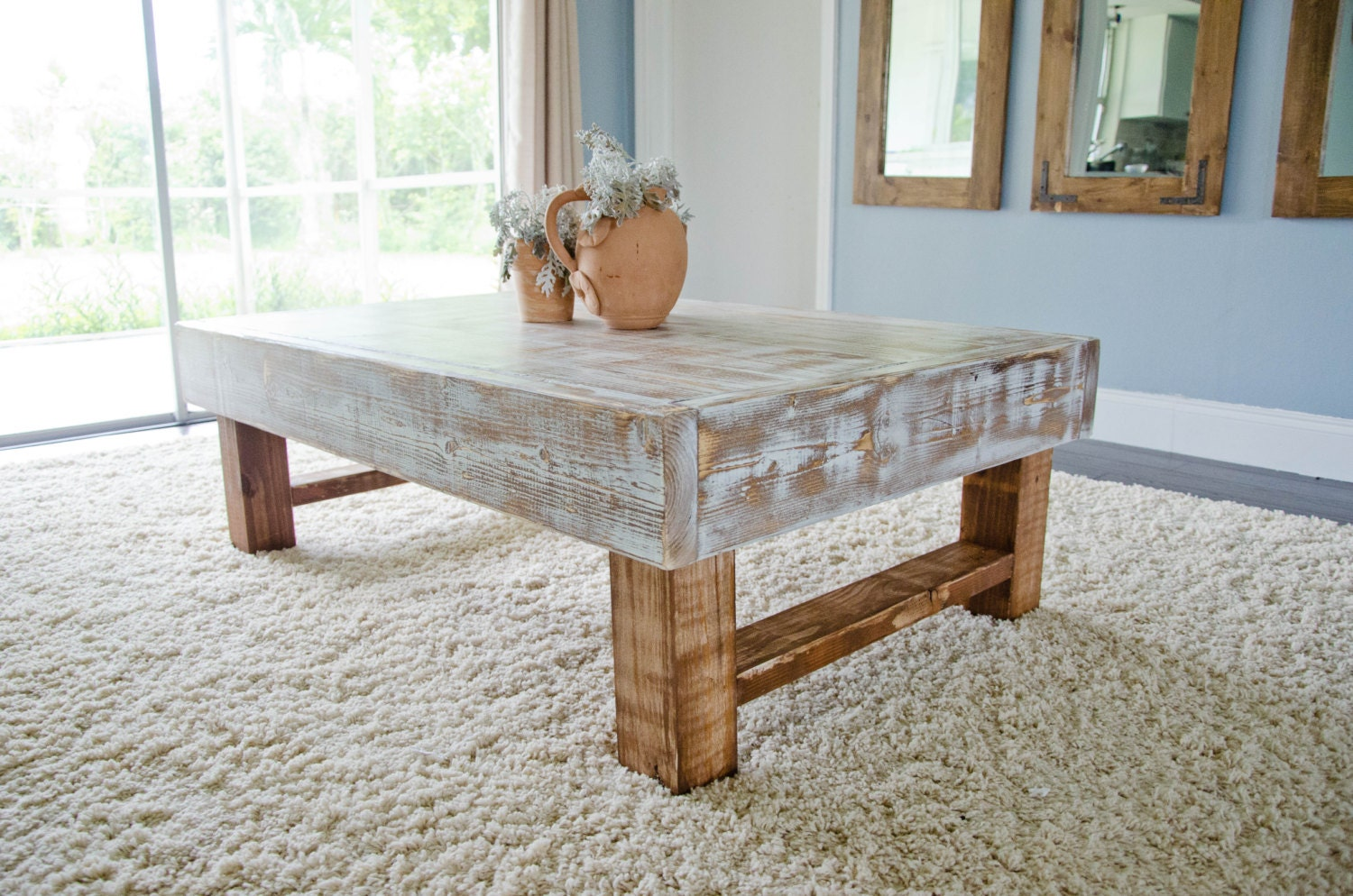 Rustic Coffee Table Farmhouse Coffee Table Whitewashed