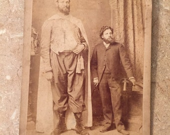 Eisenmann Cabinet Card of Giant and Man of Average Height