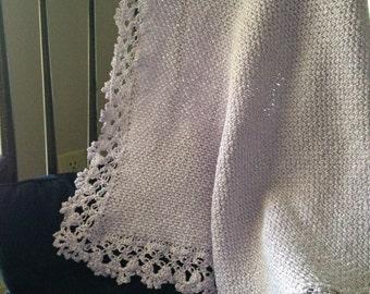 Lavender hand crocheted baby blanket