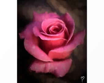 """Pink Wall Art of Rose, Home Decor, Flower Wall Art, Rose Wall Art, Pink Art Print """"Beauty Unfolding"""""""