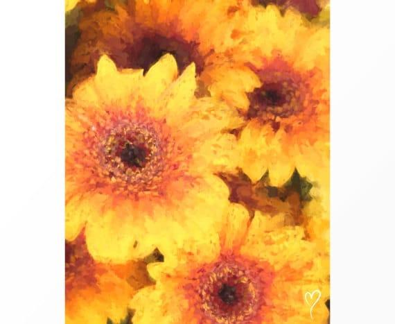 """Yellow Art Print, Sunflowers Print, Yellow Wall Art, Home Decor, Flower Wall Art, Gift for Friend, Fine Art Print """"Fall Sunflowers"""""""