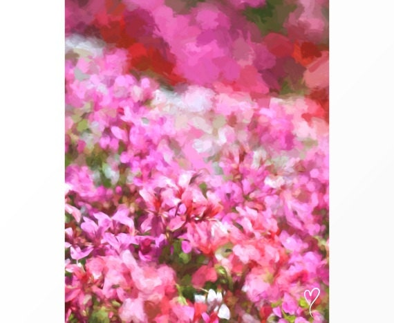 "Flower Art of Beautiful Pink and White Flowers, Flower Wall Art, Home Decor, Pink Wall Decor ""Ribbon of Love"""